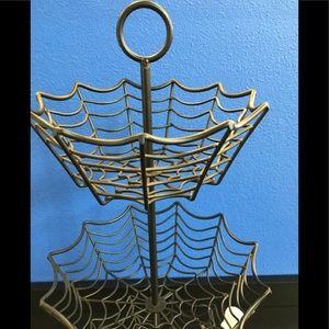 3 tier POTTERY BARN spiderweb goth rack holder NEW